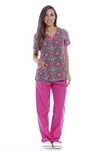 (1390W-S - Just Love Nursing Scrubs Set for Women / Print Scrubs,Print Set 14,Small)