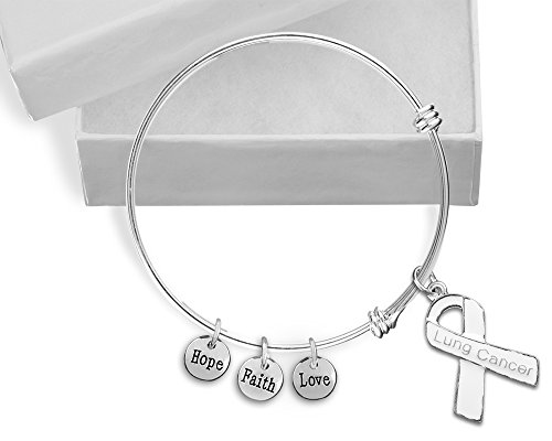Lung Cancer White Ribbon Retractable Charm Bracelet in a Gift Box (1 Bracelet - Retail) -