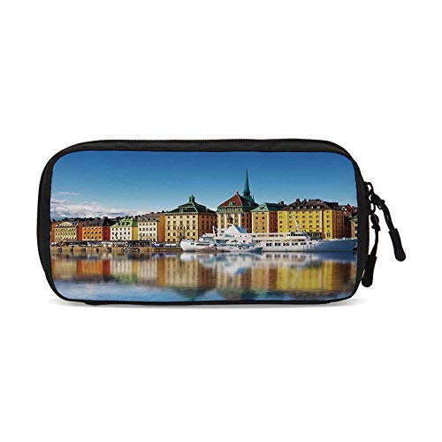 Wanderlust Decor Useful Small Data Storage Bag,Summer Panorama of The Gamla Stan in Stockholm Sweden Yacht Ship by The Port Ocean for Office,9.4