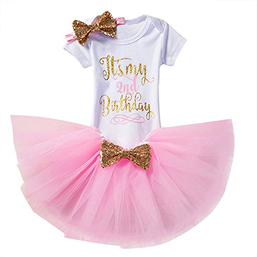 NNJXD Girl Newborn It's My 2nd Birthday 3 Pcs Outfits Romper+Skirt+Headband Size (2) 2 Years Pink (Birthday Outfit Girl)