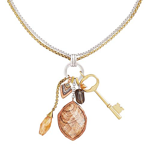 Silpada 'Hold the Key' Pendant Necklace with Natural Smoky Quartz & Swarovski Crystals in Silver, Brass, Copper with Leather