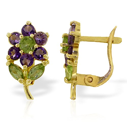 2.12 Carat 14K Solid Gold Flowers Stud Earrings Amethyst Peridot