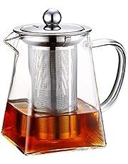 Szklane dzbanki do herbaty ze zdejmowanym zaparzaczem, wysoki dzbanek ze szkła borokrzemowego z płytką do rozpuszczania w kwadratowym kształcie, sitko ze stali nierdzewnej i pokrywka ze stali nierdzewnej – sejf na płytę grzewczą (750 ml)
