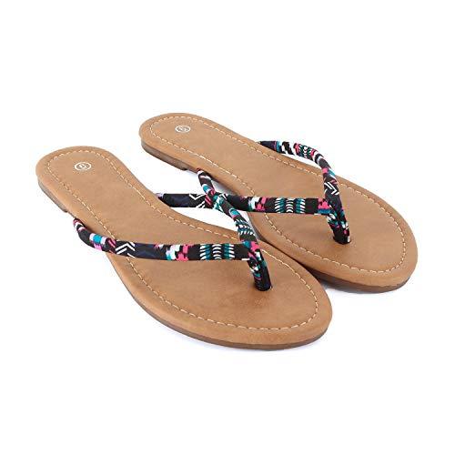 Guilty Heart - Womens Classic Beach Thong Flat Flip Flop Sandal Wedges-Sandals, Flower, 9 B(M) US