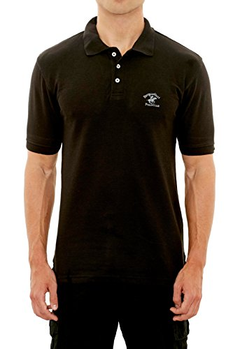 Beverly Hills Polo Club Men\'s Pique Polo with Horse Logo, Black, Large'