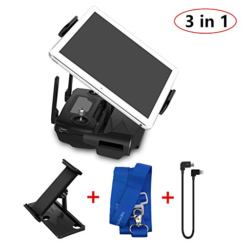 Tablet Holder Accssories Aluminum-Alloy 4-12 Inches Tablet Mount Holder with Lanyard and Data Cable Foldable Bracket for DJI Mavic 2 Zoom Mavic 2 Pro Mavic Air Spark Mavic Pro Platinum Alpine White by Helistar