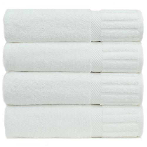 Luxury Hotel & Spa Towel Turkish Cotton Piano (WHITE, Bath Towel  - Set of 4) by Chakir Turkish Linens