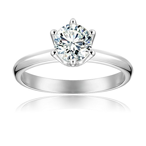 BeFab 1.3 Ctw 6 Prong Brilliant Cut Cubic Zirconia Promise Ring in Solitaire Setting (Silver, 7) by BeFab