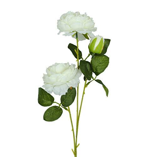 Vlovelife 3 Heads White Artificial Peony Flower Silk Rose Flower with Stem 26'' Long Fake Plastic Flowers Home Garden Party Wedding Bouquet Centerpiece Decoration DIY Wreath
