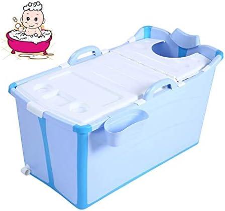 折りたたみバスタブ GYF 折りたたみ大人用浴槽 ポータブルプラスチック浴槽 座るカバー付き ホームアダルト 子供用入浴浴槽ベビースイミングビッグタブ 2色バスタブバスタブ (Color : Blue)