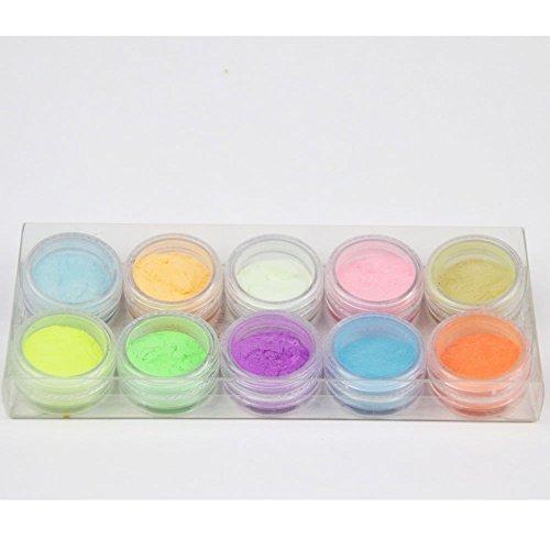 XX Shop Acrylic Nail Art Powder Glows Under the Black Light 10 Neon Colors Set Kit DIY (Glow In The Dark Makeup Kit)