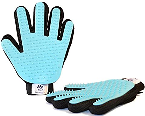 Pet Grooming Glove Pair By Fuzzy Whiskers, Gentle Hair Remover, Efficient Brushing, Perfect Deshedding and Massage Tool, For Cats/Dogs/Rabbits/Horses with Long & Short - Friendly Cat