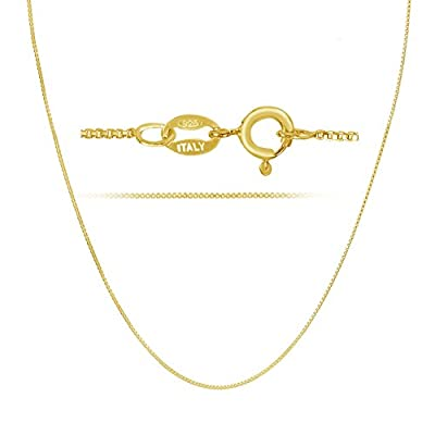 18k Gold over Sterling Silver 1mm Box Chain Necklace Made in Italy Available 14 inch- 40 inch by KEZEF Creations