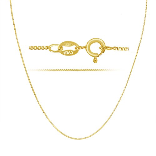 Ladies Gold Chains (18k Gold over Sterling Silver 1mm Box Chain Necklace Made in Italy 30 Inch)