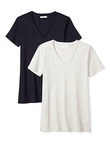 (Amazon Brand - Daily Ritual Women's Lightweight 100% Supima Cotton Short-Sleeve V-Neck T-Shirt, Navy/Heather Grey, X-Large)
