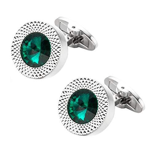 Emerald Green Crystal Cufflinks Green Crystal Gem stone cuff links YW09N
