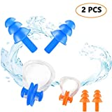 Trrut 2 Sets Swimming Silicone Nose Clip Soft and Flexible Waterproof Ear Plugs Equipment suit for Adults and Kids(Blue + Orange)