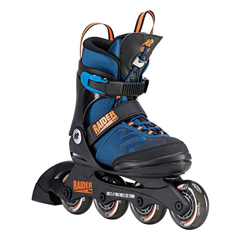 K2 Skate Youth Raider Pro Inline Skates, Blue/Orange, 4-8