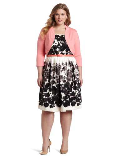 Jessica Howard Women's Plus-Size Springtime In The Garden Belted Dress