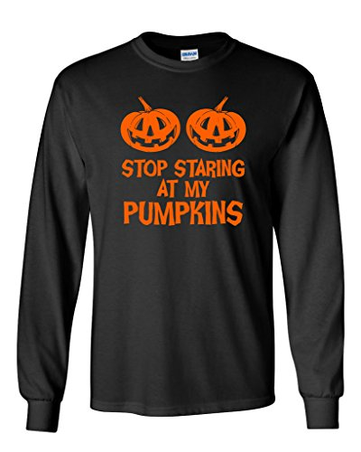 Stop Staring At My Pumpkins Costume Funny Novelty Sarcastic Halloween T-Shirt 3XL Black (Old School Costume Ideas)