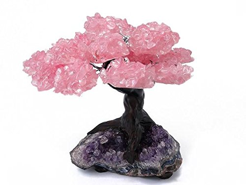 Medium Rose Quartz Clustered Gemstone Tree on Amethyst (Quartz Gemstone Tree)