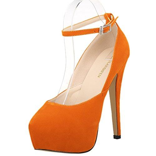 Women's Velvet Strap Pumps Shoes Platform Closed LOSLANDIFEN Ankle Orange Heel Party Toe High dgfwxq7S