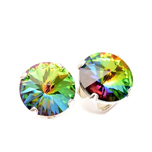 925 Sterling-silver stud earrings expertly made with Enchanted Forest crystal from SWAROVSKI