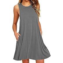 OMZIN Women Sleevesless Cotton Casual Sleeveless Flared Tank Dress S-2XL