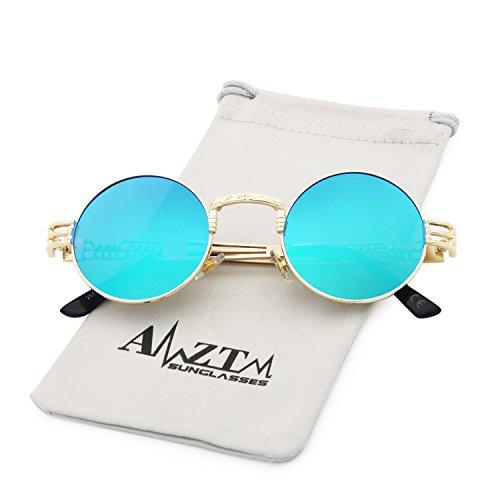 Gafas de AMZTM Sol Hielo Metal Vendimia Marco Azul de Steampunk Dorado Marco Lente de Gafas Redondo TEqxtwErp