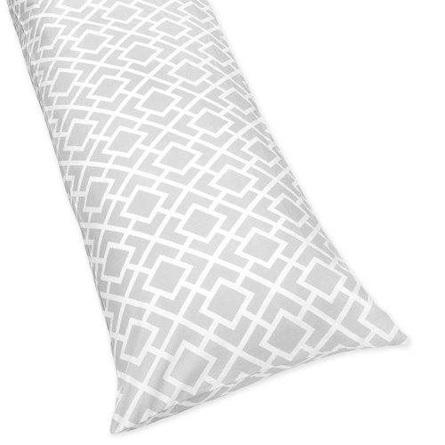 (Sweet Jojo Designs Gray and White Diamond Full Length Double Zippered Body Pillow Case Cover)