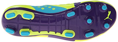 PUMA Männer Evopower 3 fester Boden Fußballschuh Fluro Gelb / Prisma Violet / Scuba Blue