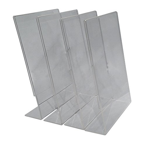 """Sign Holder Acrylic Stand Frame; 4 Pack of 8.5"""" X 11"""" Unbreakable 3mm Clear Plastic Table Sign Holders For Business Signs & Brochure Displays In Office Use, Conferences, Events, Receptions & Schools"""