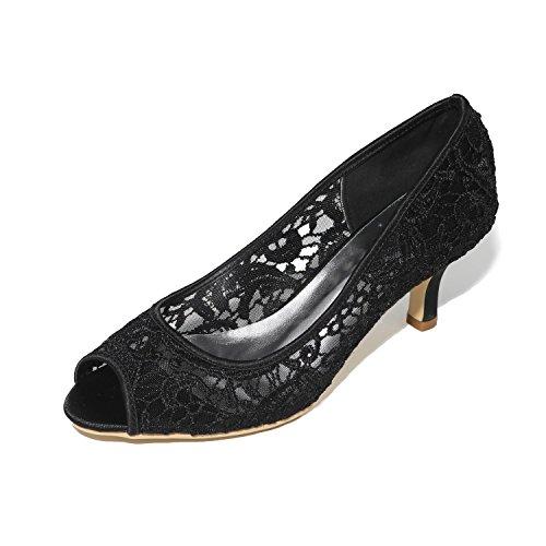 L@YC Women'S Wedding Shoes Ballet Satin High Heels Wedding Night Party & Satin / Black / White / Pink Black 0Ri1pUHNl