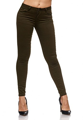 Treggings Lucido D2074 A Oliva Donna Bassa Jeans Elasticizzati Skinny Vita Pantaloni Hqf0wB