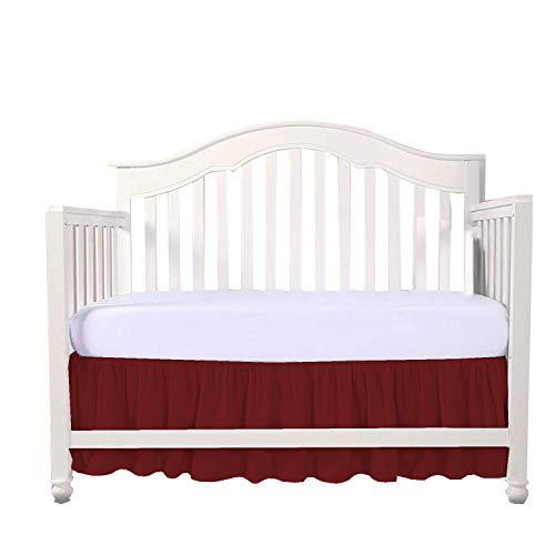 (Burgundy Crib Bed Skirt Split Corner,Dust Ruffle 100% Cotton Nursery Crib Toddler Bedding Skirt for Baby Boys or Girls, 14