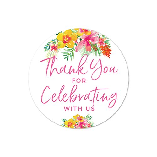 Andaz Press Tropical Floral Garden Party Wedding Collection, Round Circle Gift Tags, Thank You for Celebrating With Us, 24-Pack