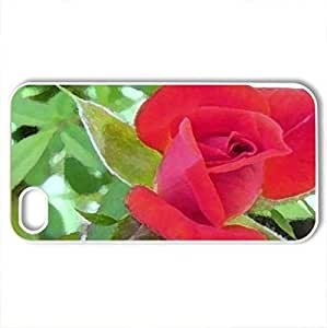 red roCase For Samsung Galsxy S3 I9300 Cover (Flowers Series, Watercolor style, White)
