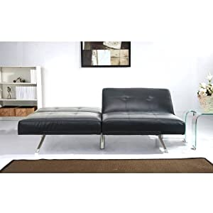 Austin Leather Futon Sofa Bed, Black, Set Includes: 1 Futon Sleeper Sofa, Materials: Wood And Metal Frame, Bundle With Ebook For Home Furniture
