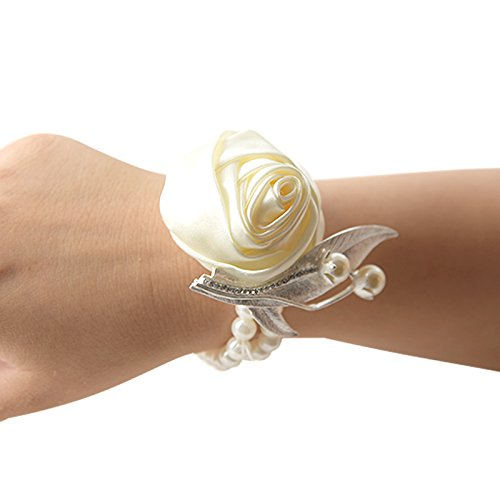 angju Flower Wrist Corsage - Girl Bridesmaid Wedding Wrist Corsage Party Wrist Flower Corsage Bracelet FOR Bracelet Wedding Prom,wedding party ()