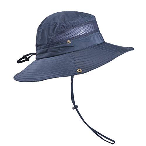 Dressin Outdoor Sun Cap Solid Color Bucket Mesh Hat Fishing Hats Bucket Men Summer String Hat Cap with Drawsting Navy