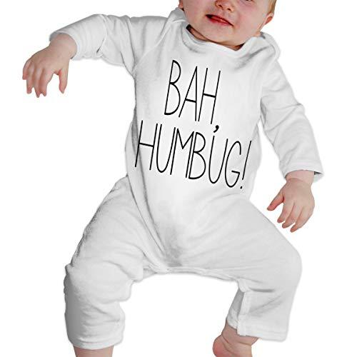 Crazy Popo Newborn Baby BAH, Humbug Long Sleeve Romper Bodysuit Jumpsuit White -