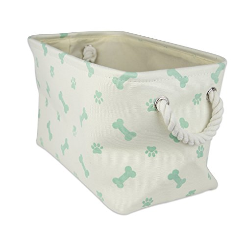 DII Bone Dry Small Rectangle Pet Toy and Accessory Storage Bin, 14x8x9, Collapsible Organizer Storage Basket for Home Décor, Pet Toy, Blankets, Leashes and Food-Mint Bone
