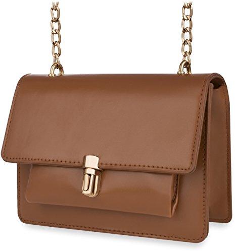 wunderschöne Schultertasche Damentasche mit Kettenriemen und Klappe grau