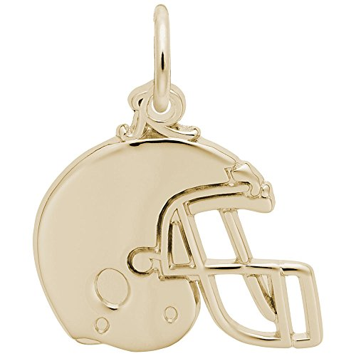 Football Helmet Charm In 14k Yellow Gold, Charms for Bracelets and Necklaces