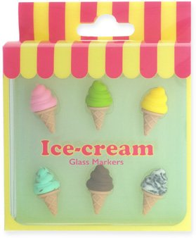 nod products Set of 6 Ice Cream Cones Silicone Glass Charms