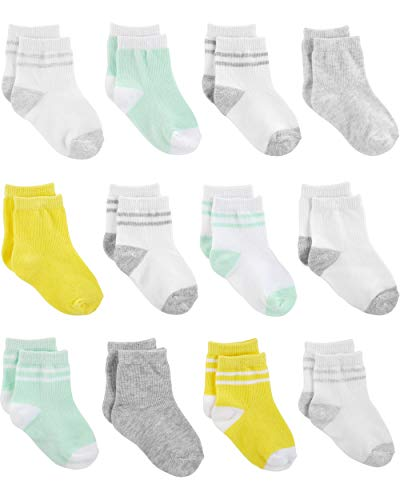 Simple Joys by Carter's Baby 12-Pack Socks, Yellow/Grey/Mint, 12-24 Months