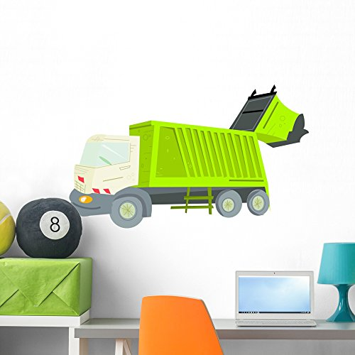 Wallmonkeys WM37788 Garbage Truck Peel and Stick Wall Decals (36 in W x 24 in H), Large
