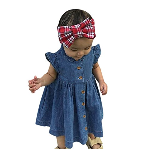 Birdfly Little Girls Western Pure Denim Dress Outfit Toddler Kid Fly Sleeve Cowgirl Chambray Swing Dresses. (3T, Blue) -