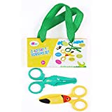 Ludos 2 Pack Kids and Toddler Safety Scissors in Fun Crocodile and Toucan Designs| Child Plastic Scissors for Daycare, Preschool and Kindergarten – Ages 3, 4 and 5 | Safely Cuts Paper and Playdough