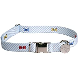 """Southern Dawg Seersucker Striped Premium Dog Collar, Blue with Bow Ties - X-Small 8-12"""" length x 3/8"""" wide"""